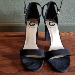 Guess Black Ankle Strap Block Heels